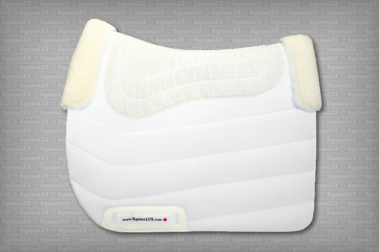 Non-slip Dressage saddle pad with cotton lining, sheepskin pommel roll and sheepskin cantle roll