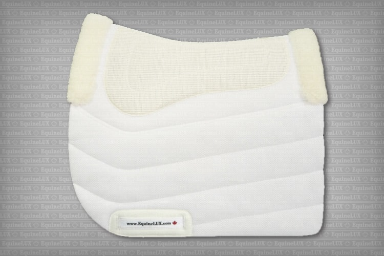 English saddle pads - PRESSURE-RELIEVING non-slip Dressage saddle pad with combined sheepskin / cotton lining and sheepskin pommel roll and cante roll
