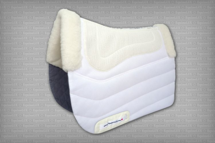 Dressage saddle pad with sheepskin lining, sheepskin pommel roll and sheepskin cantle roll