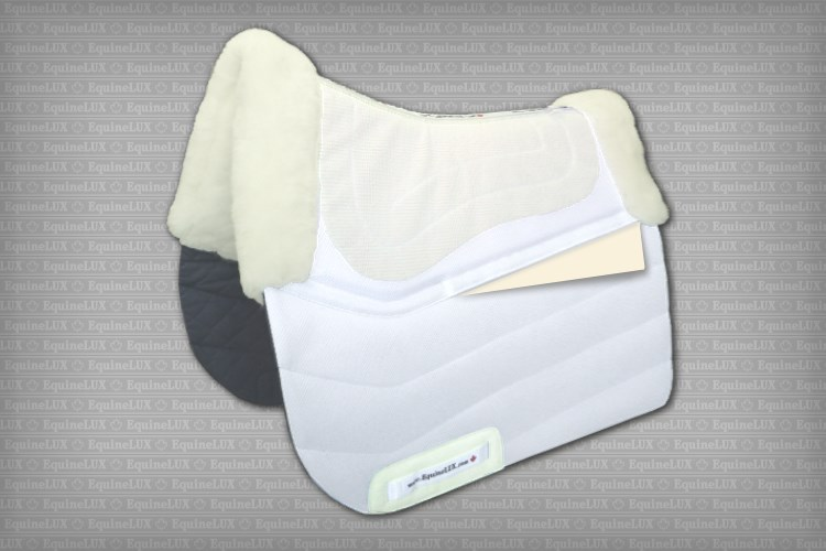 Dressage saddle pad with sheepskin lining, sheepskin pommel roll, sheepskin cantle roll, and pockets for shims