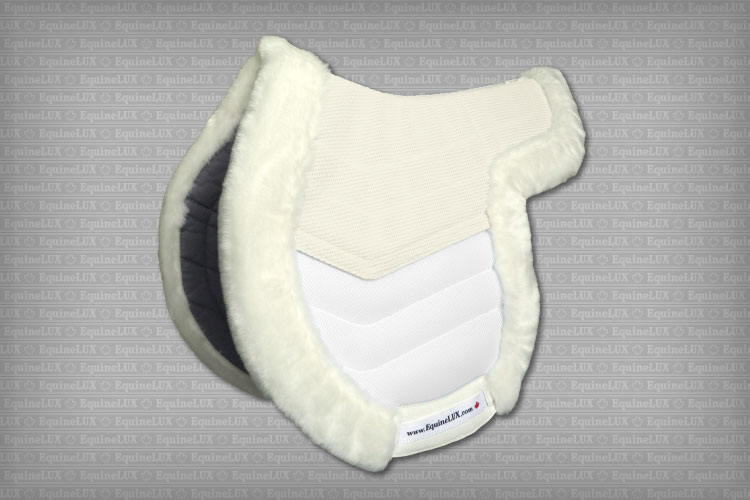 Contoured English saddle pads - EASY-ADJUSTABLE non-slip Hunter saddle pad with pockets for shims, fleese trim, cotton lining, and leather reinforcements