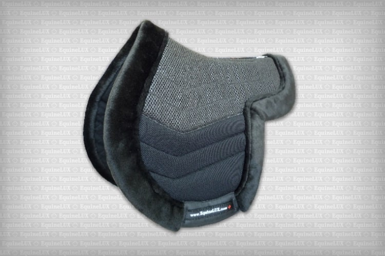Contoured English saddle pads - SLIP-STOPPING non-slip Hunter saddle pad with fleese trim, cotton lining, and leather reinforcements