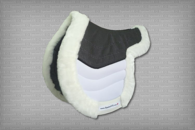 Contoured English saddle pads - EDGE-CONTOURED non-slip Hunter saddle pad with HR foam layer, fleece roll, cotton lining, and leather reinforcements