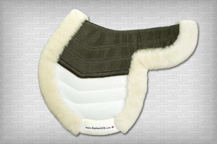 Hunter sheepskin saddle pad with sheepskin lining, sheepskin roll and pockets for shims (white / black)