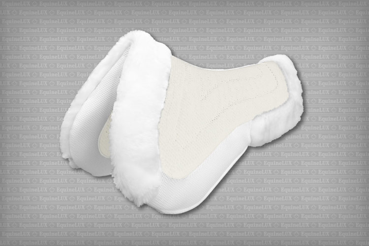 English saddle pads - non-slip Jumper half pad with pockets for shims, fleece pommel roll and cantle roll